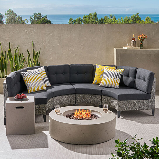Terrific Nessett Outdoor 6 Piece Mixed Black Wicker Half Round Sofa Set With Light Grey Fire Table Spiritservingveterans Wood Chair Design Ideas Spiritservingveteransorg