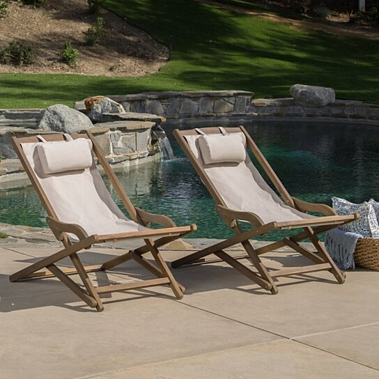 Buy Northland Outdoor Wood And Canvas Sling Chair (Set Of 2) By GDFStudio  On Dot U0026 Bo