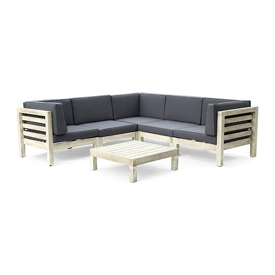 Dawson Outdoor 6-Piece V-Shaped Sectional Sofa Set with Coffee Table