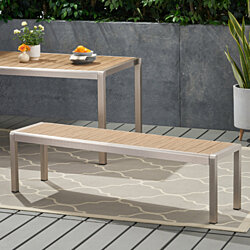 Odelia Outdoor Modern Aluminum Dining Bench with Faux Wood Seat