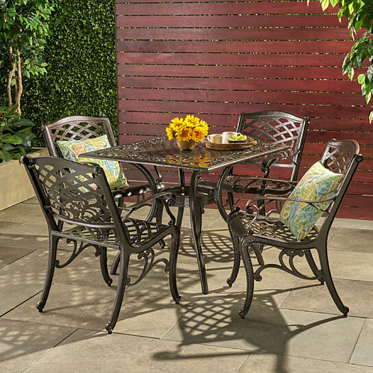 Buy odena outdoor 5 piece cast aluminum square bronze for Great deals on outdoor furniture