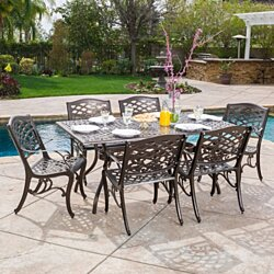 Odena Outdoor 7-piece Cast Aluminum Rectangle Bronze Dining Set