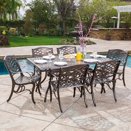 Buy Odena Outdoor 7 Piece Cast Aluminum Rectangle Bronze