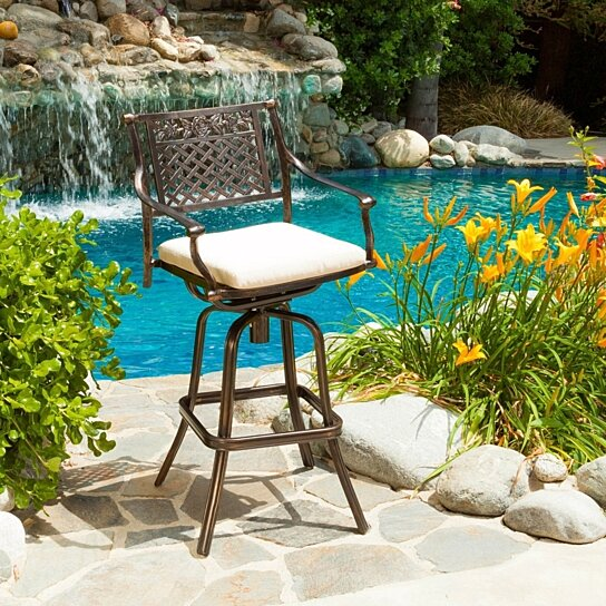 Buy sierra outdoor cast aluminum swivel bar stool w for Great deals on outdoor furniture