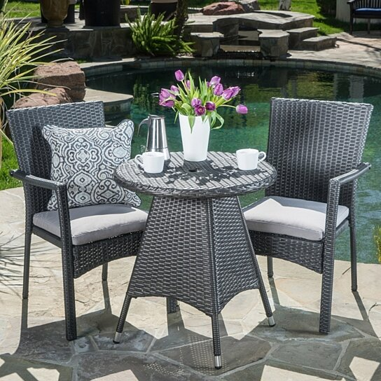 Buy Oxford Outdoor 3 Piece Grey Wicker Dining Set With