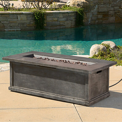 "Pablo Outdoor 56"" Grey Rectangular Liquid Propane Fire Table"