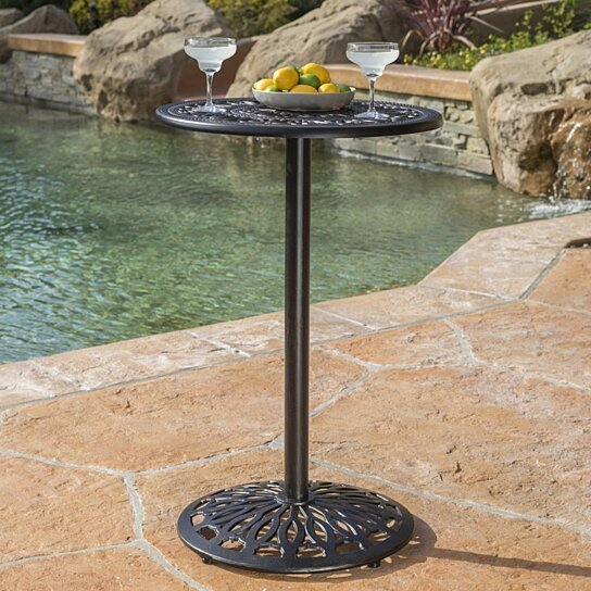 Buy Edmonson Outdoor Iron Shiny Copper Cast Bar Table By