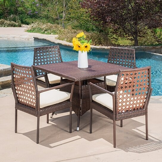 Buy malcolm outdoor 5 piece wicker dining set with for Best deals on patio furniture sets