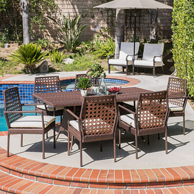 Parker Outdoor 7pc Multibrown Wicker Dining Set