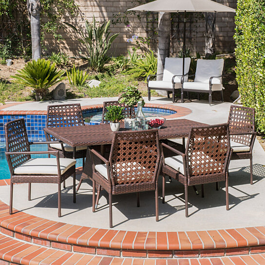 Buy parker outdoor 7pc multibrown wicker dining set by for Great deals on outdoor furniture