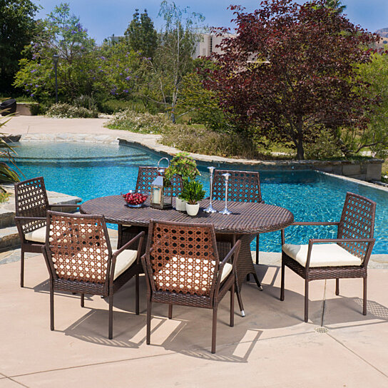 Buy parker outdoor 7pc multibrown wicker round dining set for Best deals on patio furniture sets