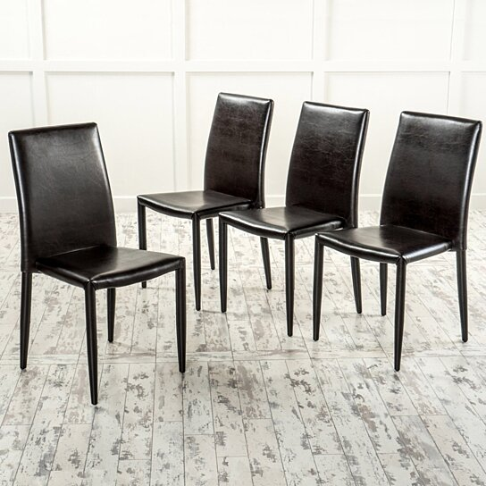 Contemporary Brown Stacking Chairs Set