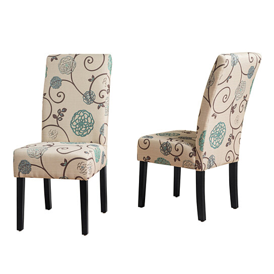 Buy Percival White And Blue Floral Fabric Dining Chair