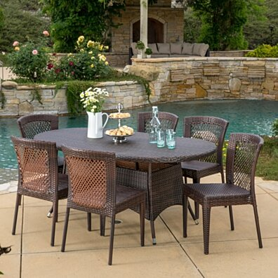 Perry Outdoor 7pc Multibrown Wicker Round Dining Set