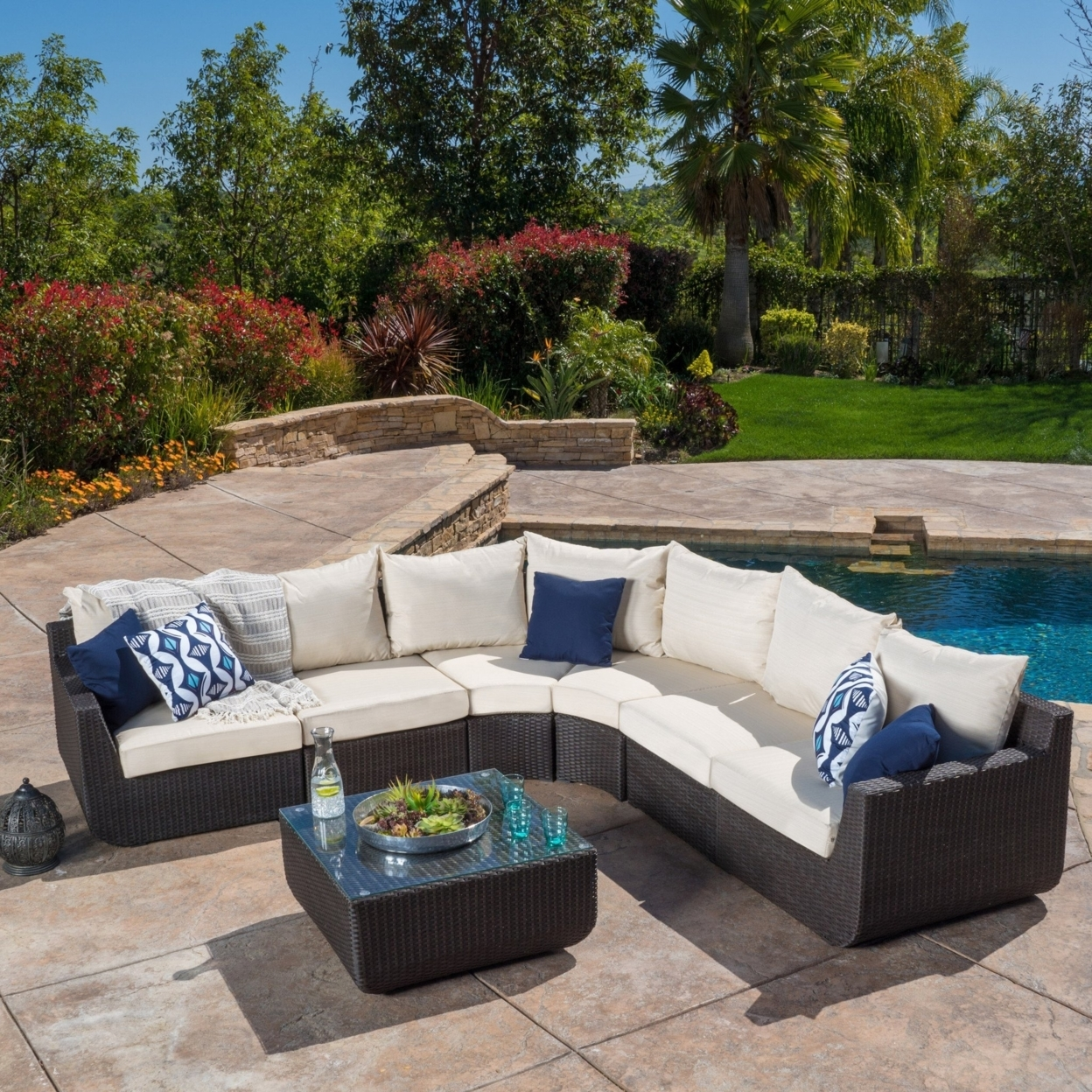 Prado Outdoor 7-piece Sectional Sofa Set with Beige Cushions
