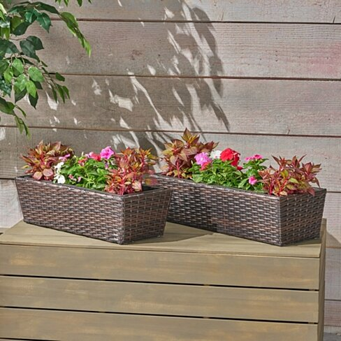 Priscilla Wicker Planters, Multi Brown Finish (Set of 2)