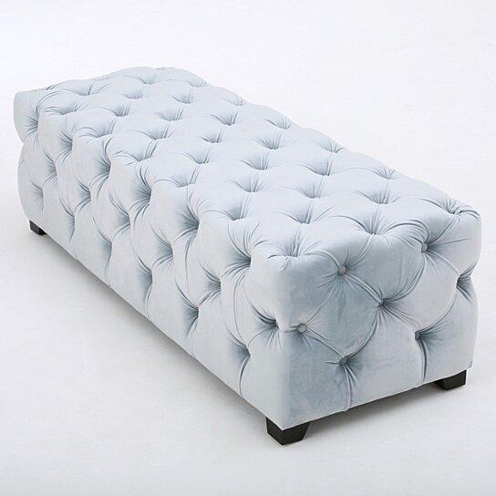 Buy Provence Tufted Velvet Fabric Rectangle Ottoman Bench