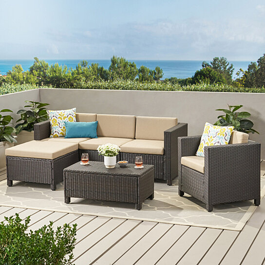 Exceptionnel Buy Pueblo Outdoor Wicker L Shaped Sectional Sofa Set With Club Chair By  GDFStudio On Dot U0026 Bo