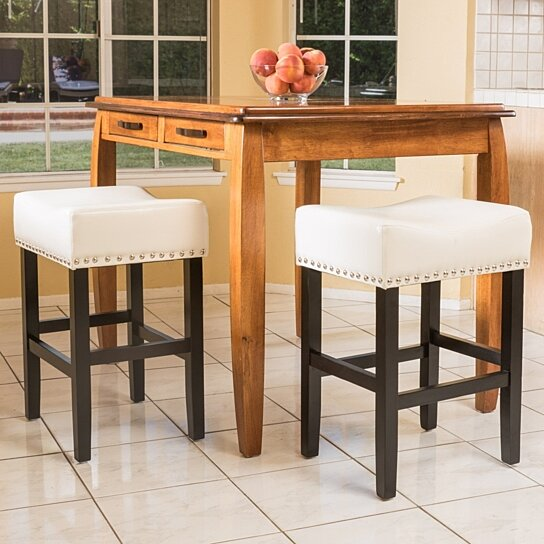 Buy Ralph Off White Leather Backless 26 Inch Counter Stool Set Of 2