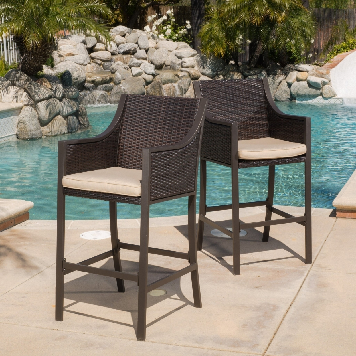 Rani Outdoor Brown Wicker Barstools (Set of 2)