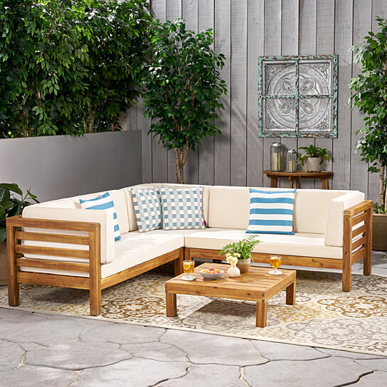 Buy Ravello 4pc Outdoor Sectional Sofa Set W/ Cushions By GDFStudio On Dot  U0026 Bo
