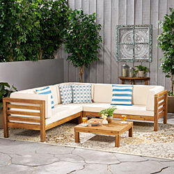 Ravello 4 Piece Outdoor Wooden Sectional Set w/ Dark Grey Cushions