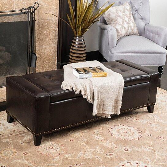 Marvelous Robin Studded Brown Leather Storage Ottoman Bench Machost Co Dining Chair Design Ideas Machostcouk