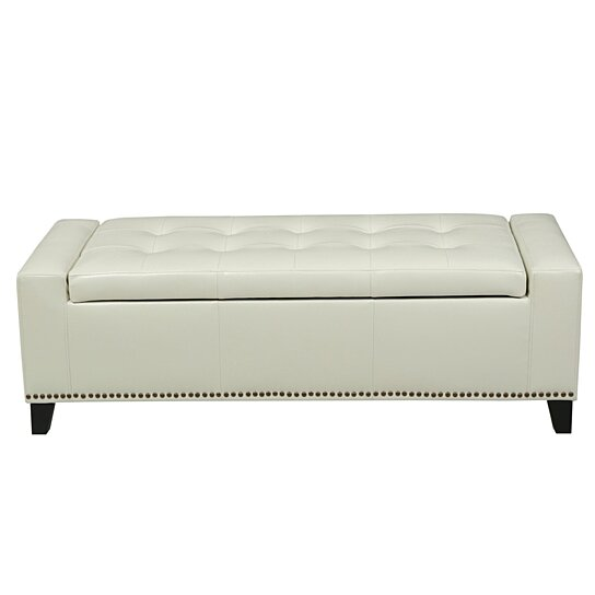 buy robin studded off white leather storage ottoman bench by gdfstudio on dot bo. Black Bedroom Furniture Sets. Home Design Ideas