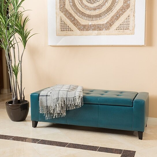 Buy Robin Teal Leather Storage Ottoman Bench By Gdfstudio