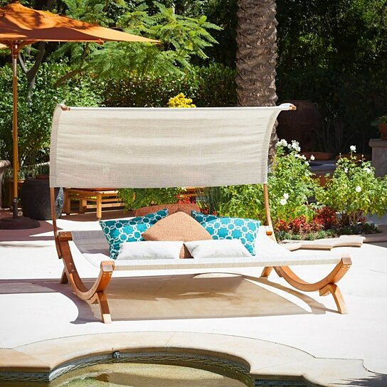 Buy rosalie outdoor patio chaise lounge sunbed and canopy for Great deals on outdoor furniture