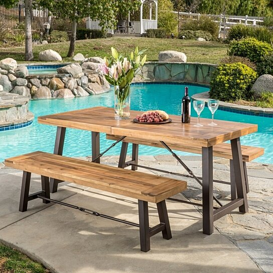 Buy rosario outdoor wood 3 piece picnic dining set by for Great deals on outdoor furniture