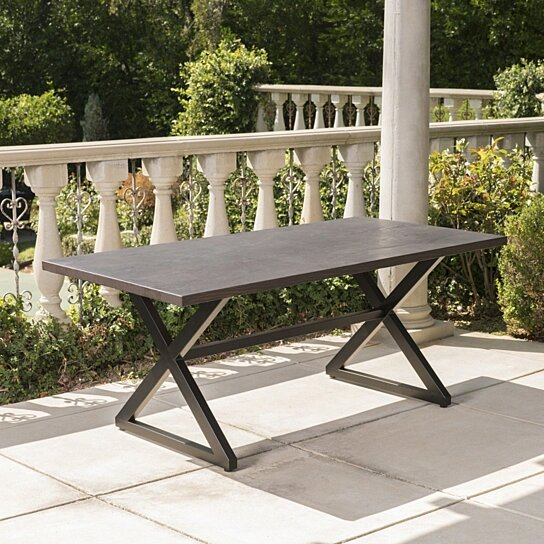 Buy Rosarito Outdoor Aluminum Dining Table With Black Steel Frame