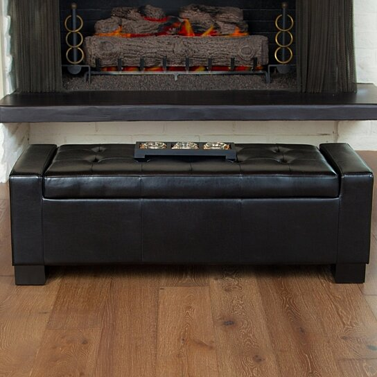 Buy Rothwell Black Leather Storage Ottoman Bench By Gdfstudio On