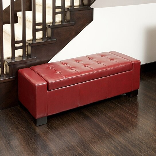 Buy Rothwell Red Leather Storage Ottoman By Great Deal Furniture On Opensky