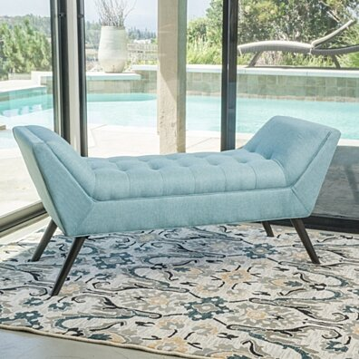 Rouvo Contemporary Blue Fabric Ottoman Bench