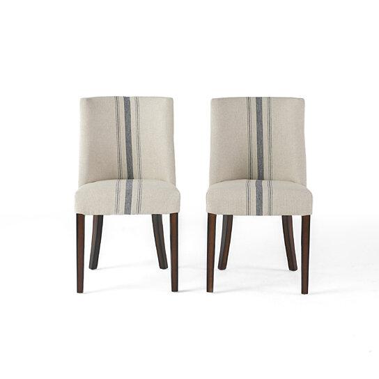 Surprising Rydel Blue Stripe Fabric Dining Chairs Set Of 2 Inzonedesignstudio Interior Chair Design Inzonedesignstudiocom