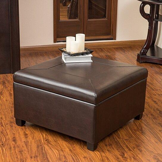 Superb Sabrina Leather Storage Ottoman Coffee Table Beatyapartments Chair Design Images Beatyapartmentscom