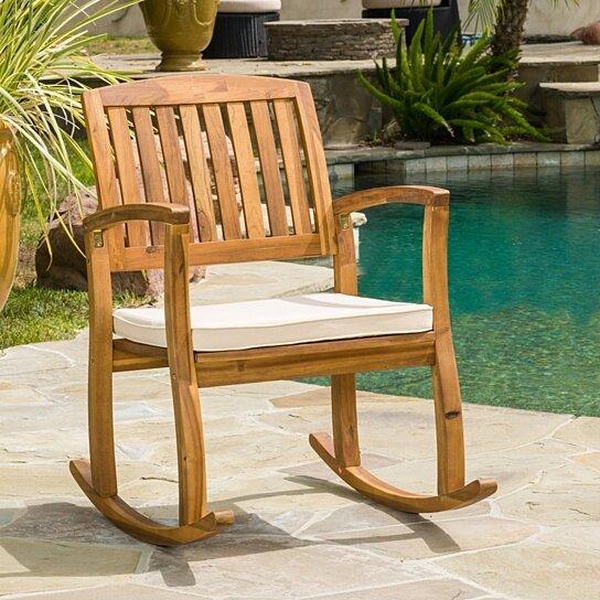 Astonishing Sadie Outdoor Acacia Wood Rocking Chair With Cushion Lamtechconsult Wood Chair Design Ideas Lamtechconsultcom