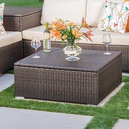 Outdoor Wicker Coffee Table With Storage: Buy San-Louis-Obispo Outdoor Wicker Storage Coffee Table