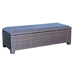 Santa Cruz Brown Wicker Storage Ottoman