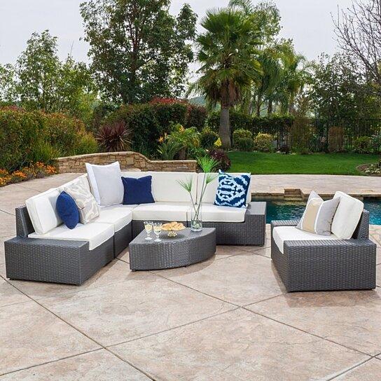 buy santa cruz outdoor 7 piece grey wicker sofa set with cushions by gdfstudio on dot bo. Black Bedroom Furniture Sets. Home Design Ideas