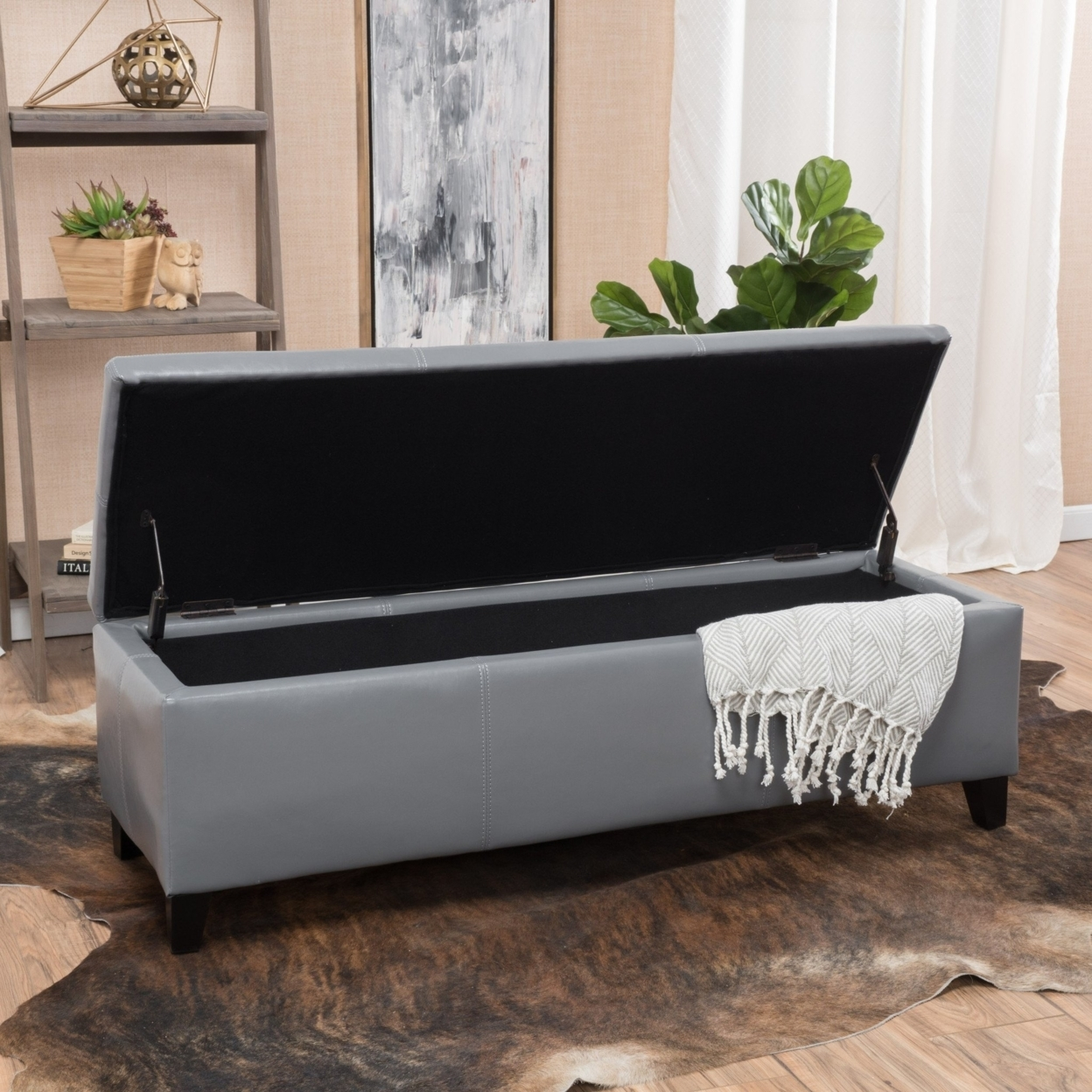 Sarelia Bonded Leather Storage Ottoman Bench