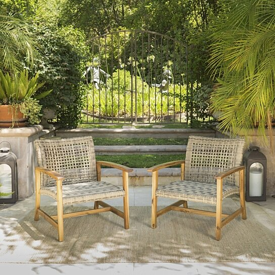 Buy Savannah Outdoor Mid Century Acacia Wood Frame Wicker Club Chairs (Set  of 2) by GDFStudio on OpenSky - Buy Savannah Outdoor Mid Century Acacia Wood Frame Wicker Club