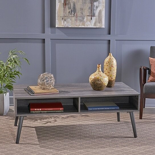 Buy Savone Mid Century Modern Faux Wood Overlay Coffee Table By Gdfstudio On Dot Bo