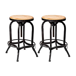 Sebastiane Reclaimed Industrial Firwood Adjustable Height Swivel Bar Stool