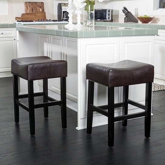 Awesome Adler 26 Inch Brown Leather Backless Counter Stool Set Of 2 Gmtry Best Dining Table And Chair Ideas Images Gmtryco