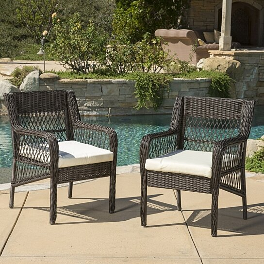 Buy clara outdoor wicker dining chair with cushion set of for Great deals on outdoor furniture