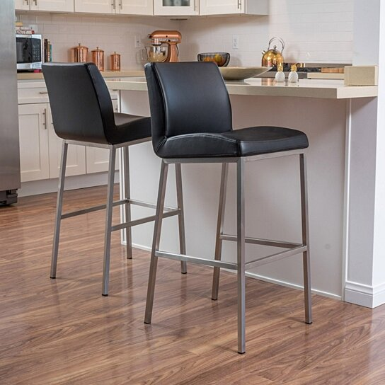 Buy Denise Austin Home October Bonded Leather Barstool Set Of 2 By Gdfstudio On Dot Bo
