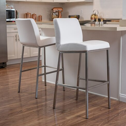 Denise Austin Home October Bonded Leather Barstool (Set of 2)