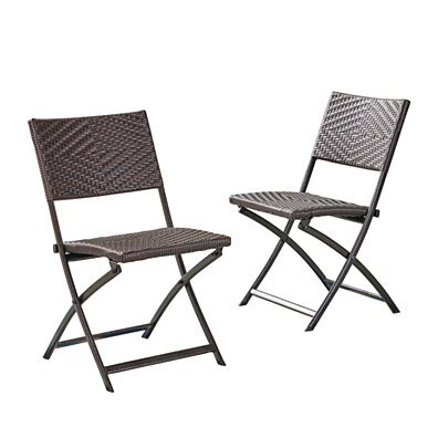 Jason Outdoor Brown Wicker Folding Chair (Set of 2)